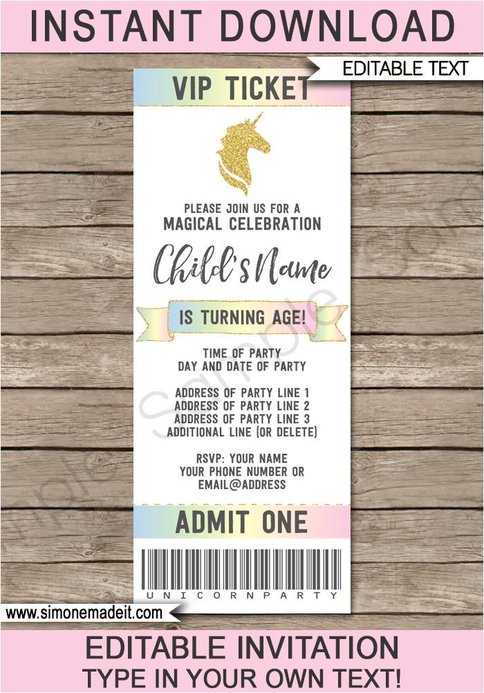 unicorn party ticket invitations