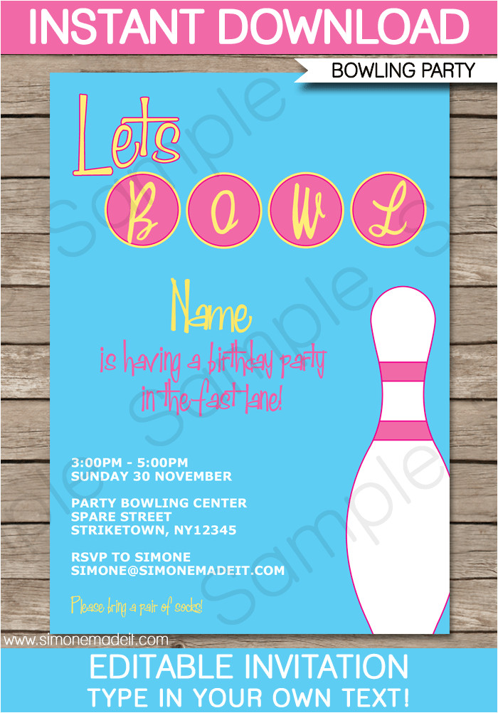 bowling party invitation pink