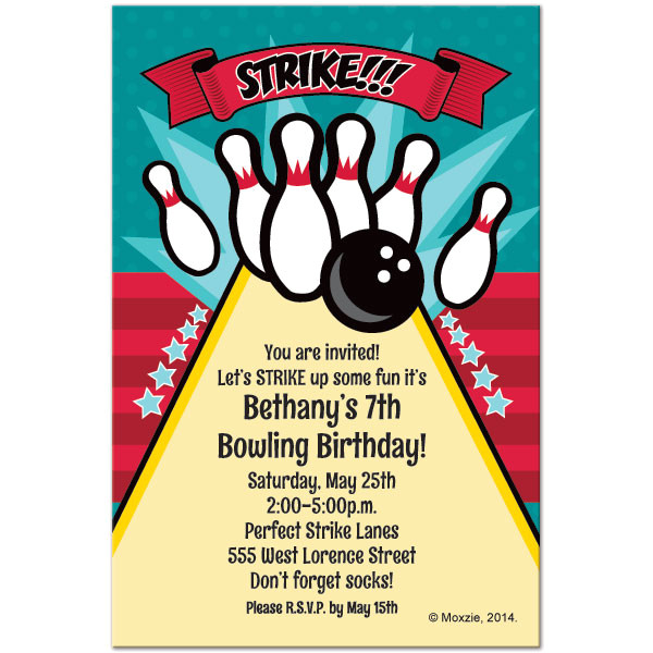 free printable bowling birthday invitations
