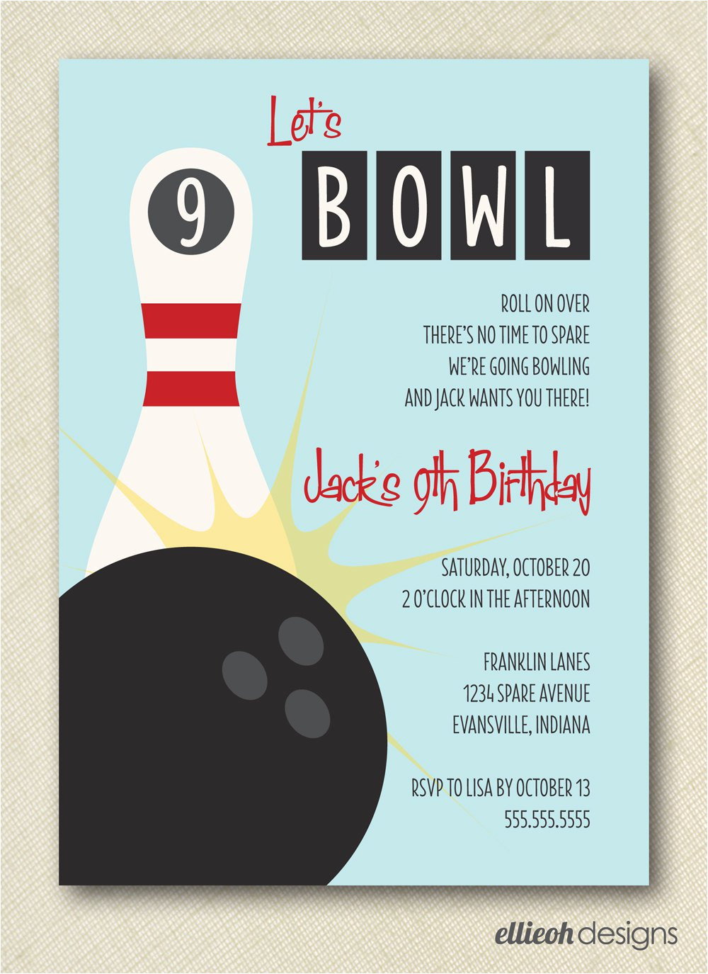 free printable bowling party invitation templates 2