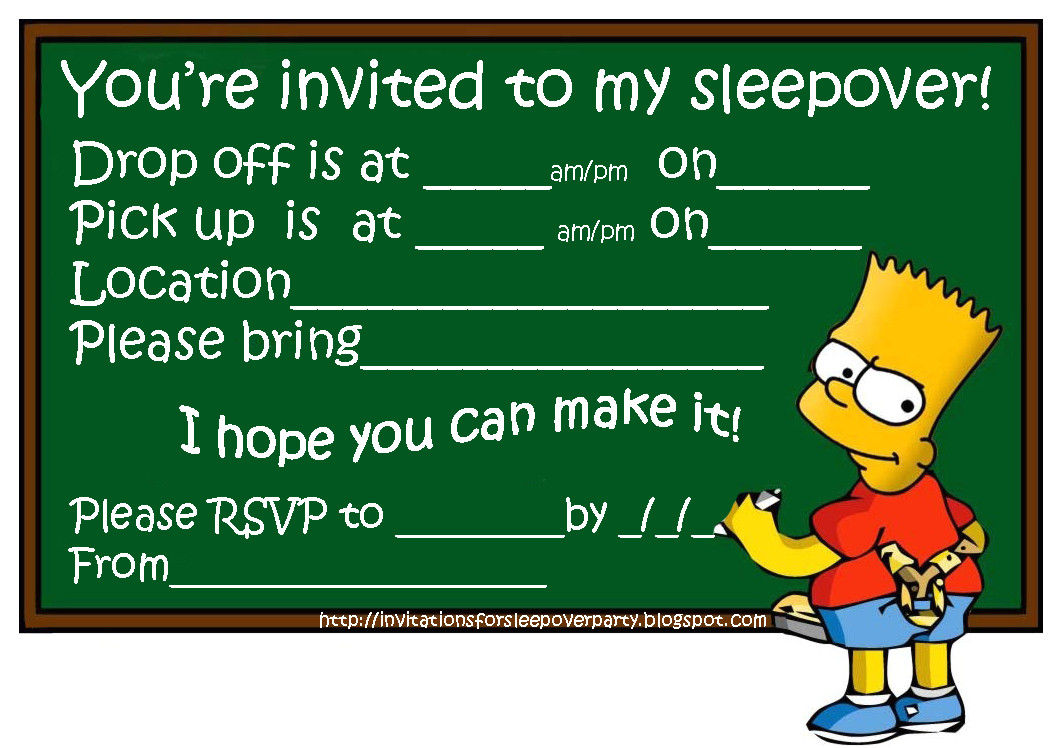 simpsons and bart simpson sleepover