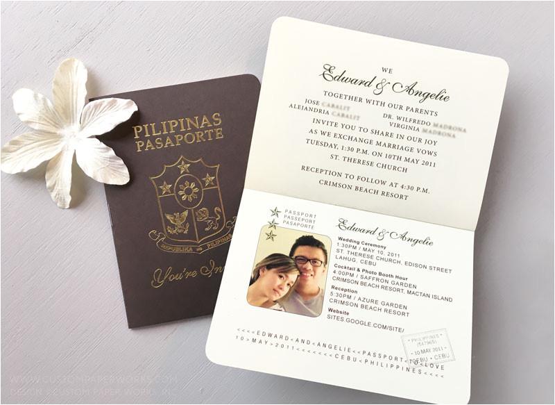 Passport Wedding Invitation Template Philippines Philippines Wedding Passport Invitation Custom Paper Works