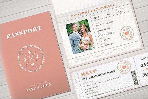 passport wedding invitation design featuring wedding photos