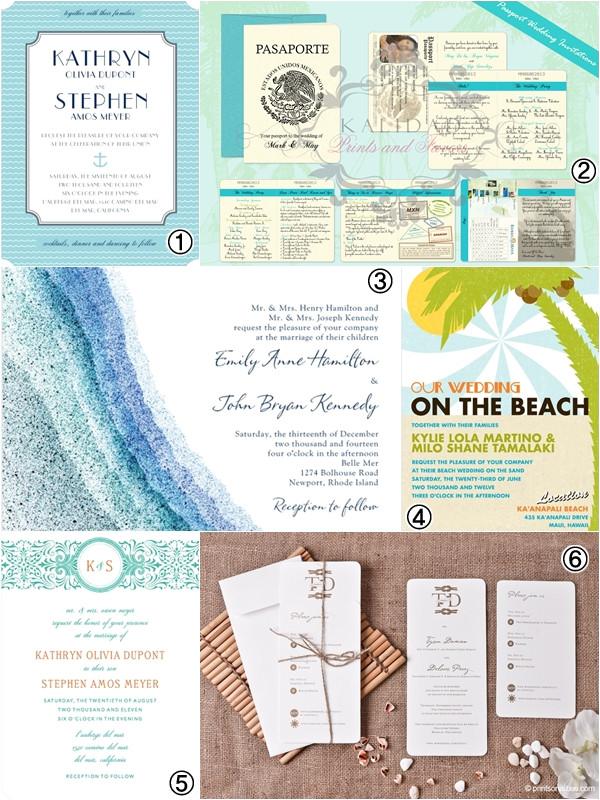 wedding invitations beach wedding theme ideas