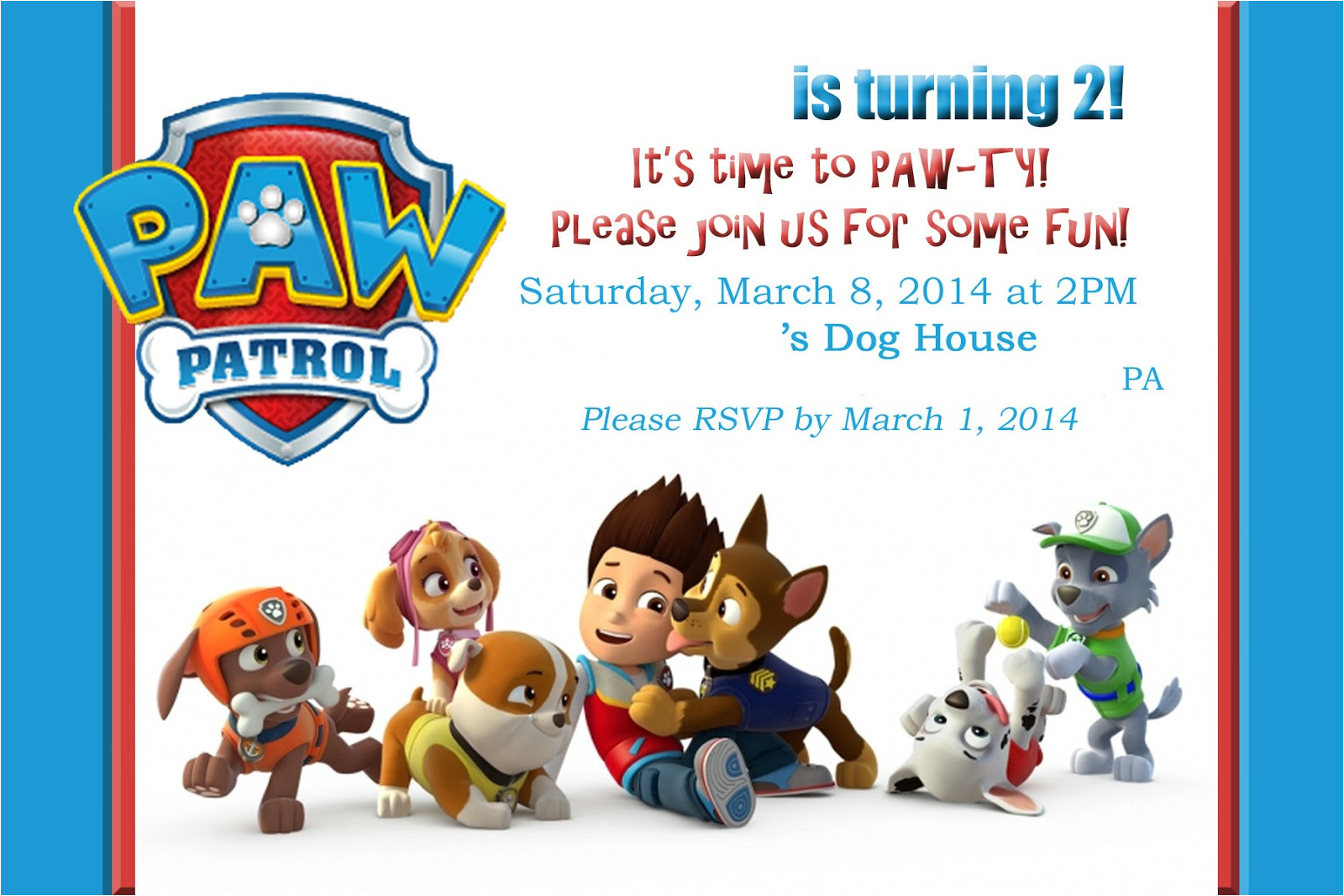 paw patrolpuppy party