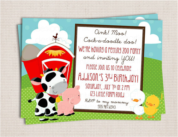 petting zoo birthday party invitations