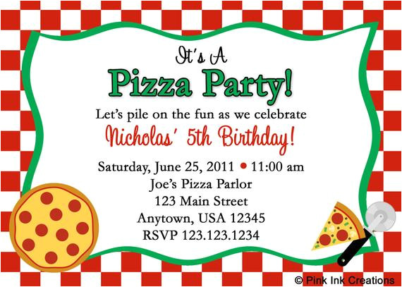 pizza party birthday invitations girl or