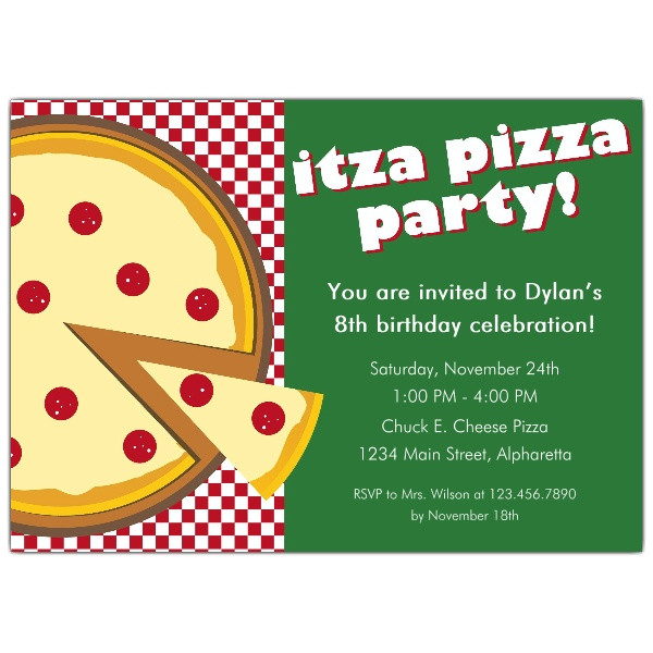 itza pizza party invitations p 615 75 125