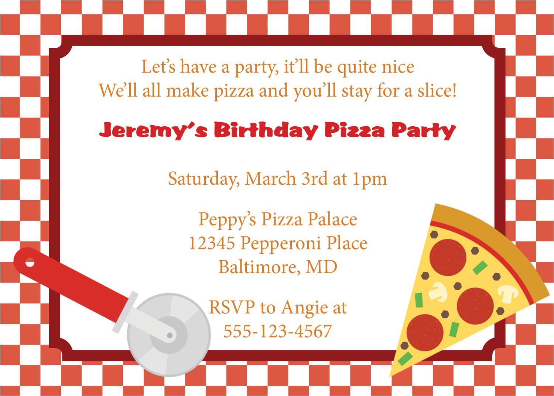 pizza party invitation invite diy