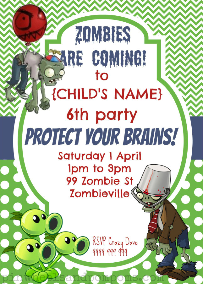 party invitation plants vs zombies