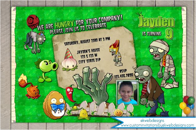 plants vs zombies birthday invitation