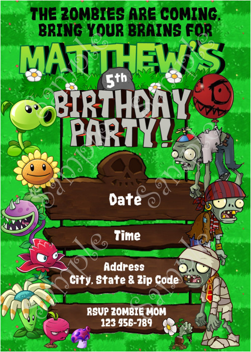 plants vs zombies birthday invitation plants vs zombies party