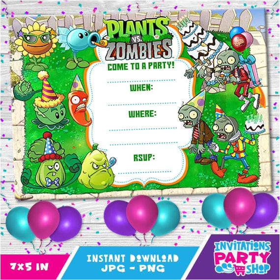 plants vs zombies invitationbirthday