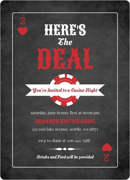 black and red casino chips casino night invitation