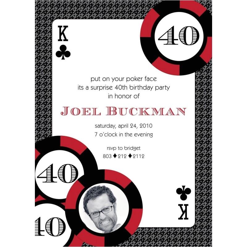 casino poker red invitation