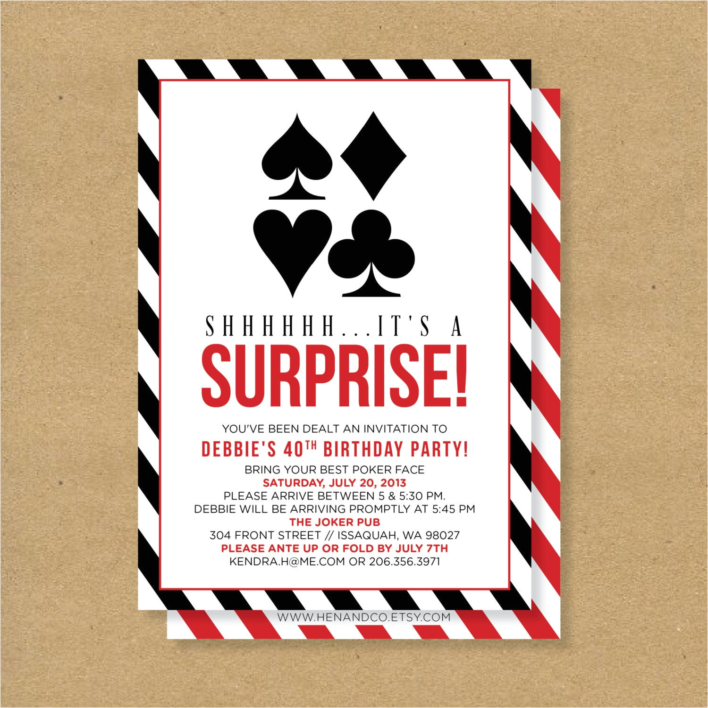 poker theme surprise party printable