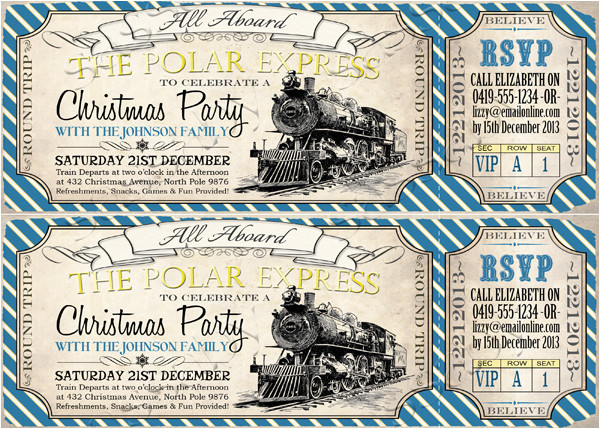 polar express christmas invitation