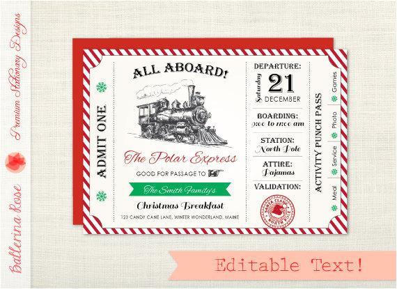 polar express party invitation invite