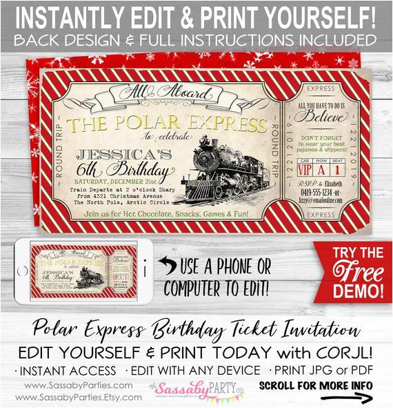 polar express birthday invitation red diy