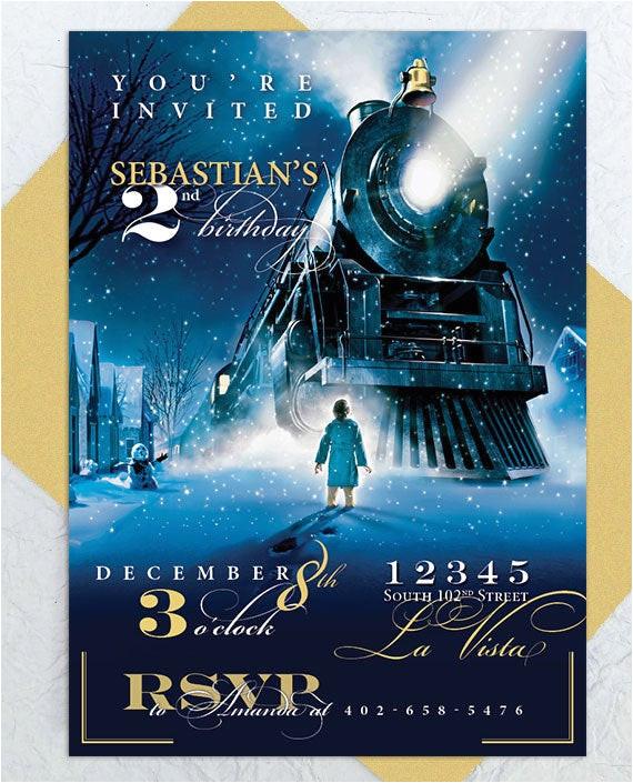 polar express party invitation custom