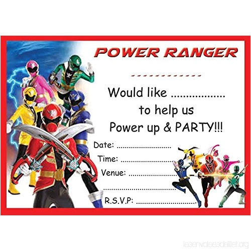 power rangers birthday party invites invitations x 10 pack and envelopes cyv4qqr3d party supplies