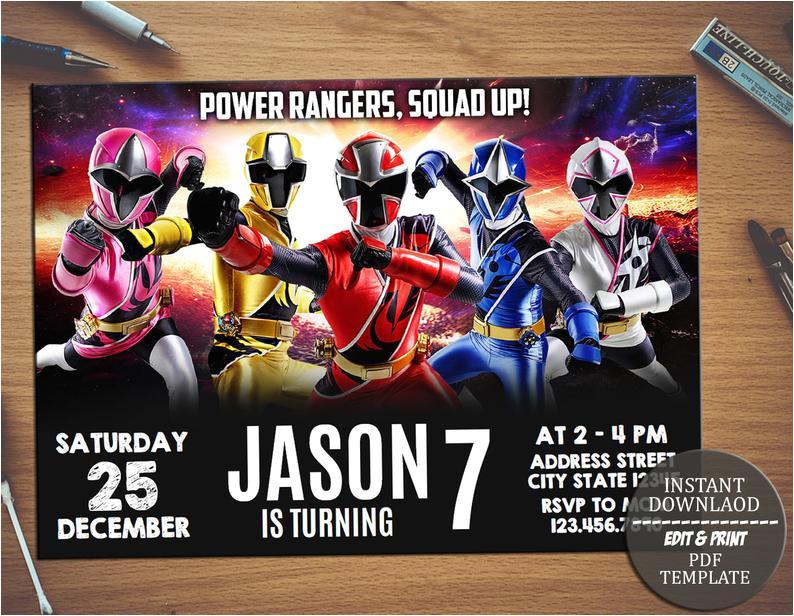 power rangers invitation power rangers