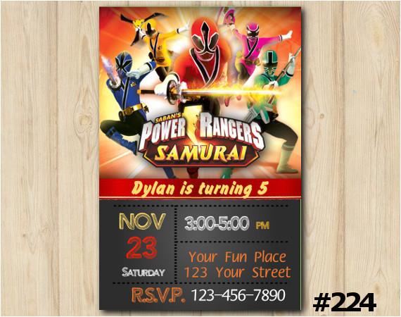 power rangers samuray custom invitation 224