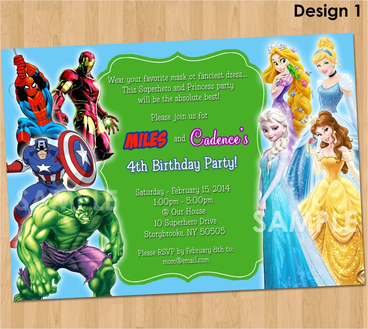 double party invitation superheroes and