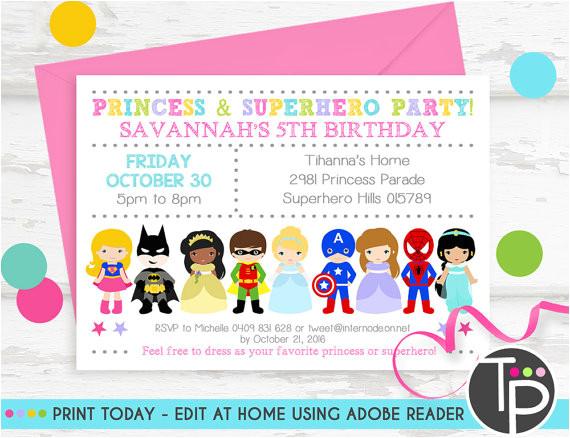 princess superhero party invitation