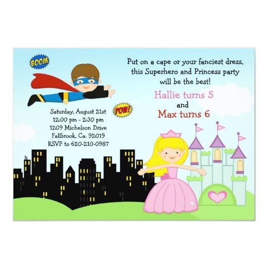 superhero and princess birthday party invitation 161473825621036414