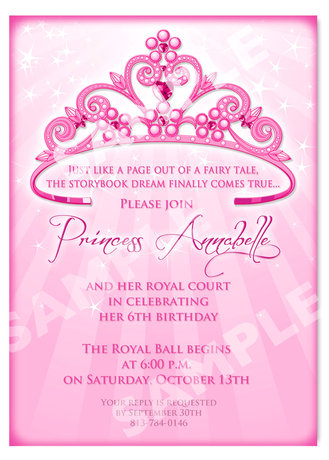 princess birthday invitation diy