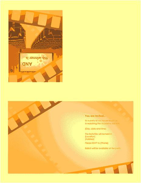 movie awards party invitation quarterfold 568