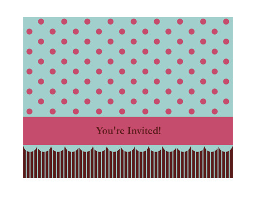 invitation note card pink and blue 2c quarter fold 2c a2 size tm10212535