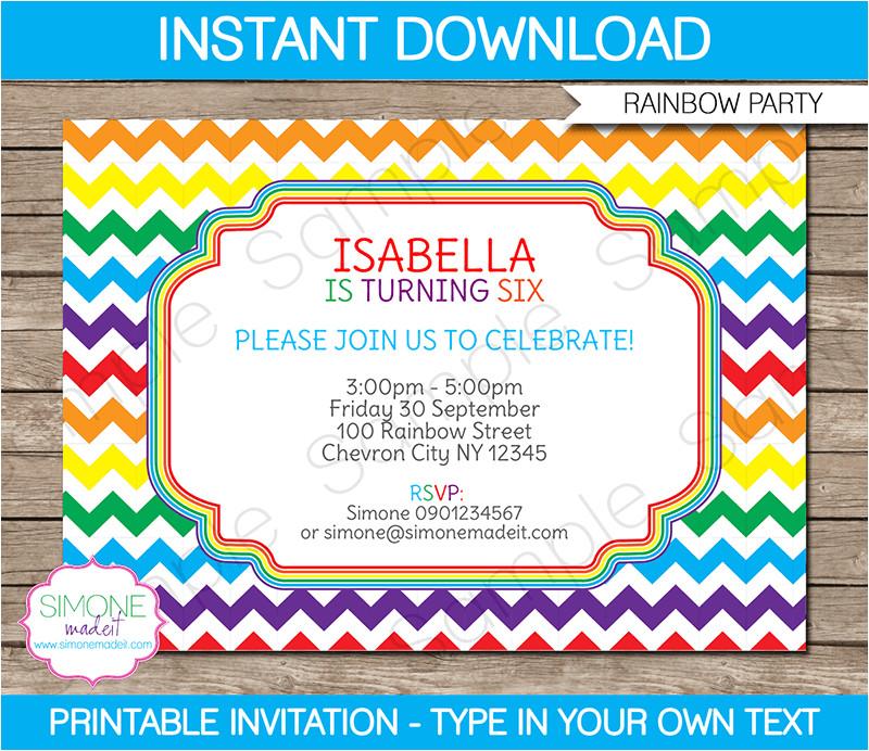 rainbow birthday invitations templates