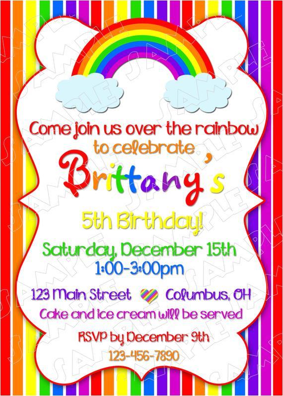rainbow party invitation birthday party