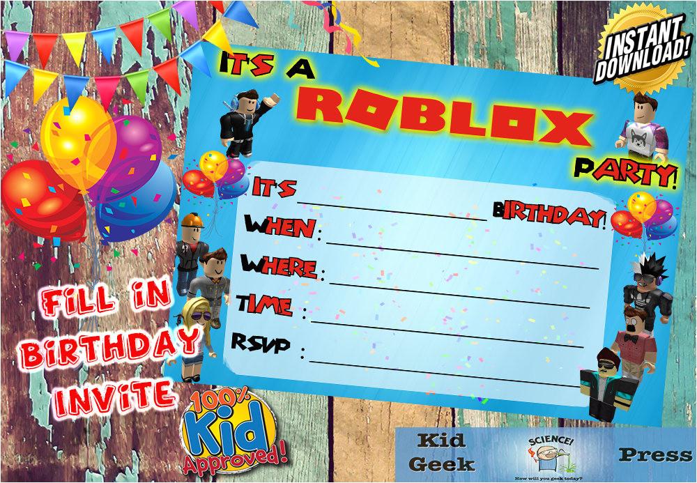 roblox birthday party unique kids invite