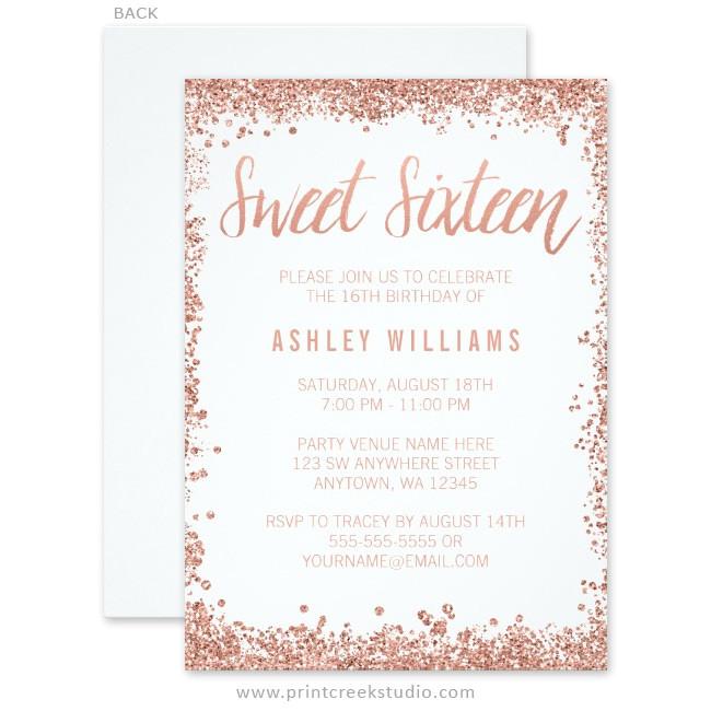 rose gold faux glitter sweet 16 invitations