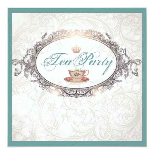 vintage royal bridal shower tea party invitation 161959797017979880