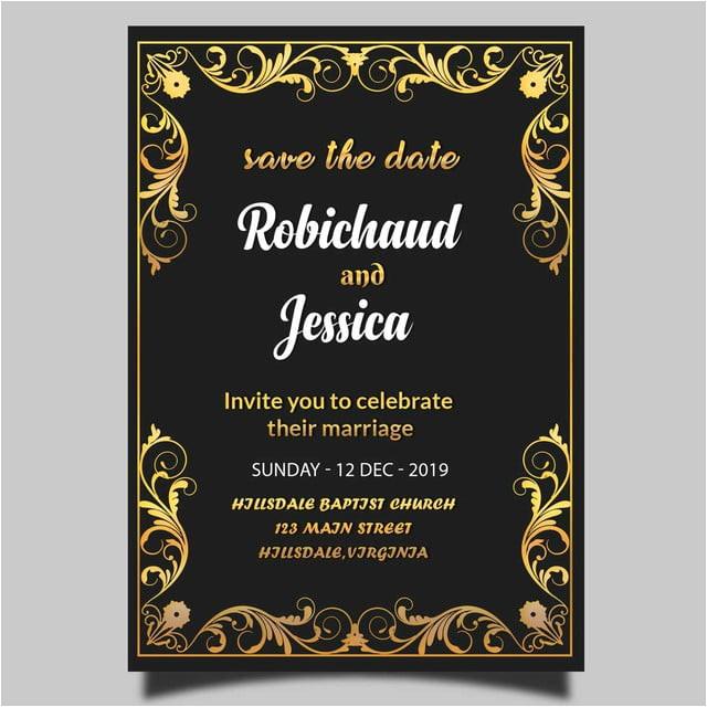 black royal wedding invitation card template psd 4137009