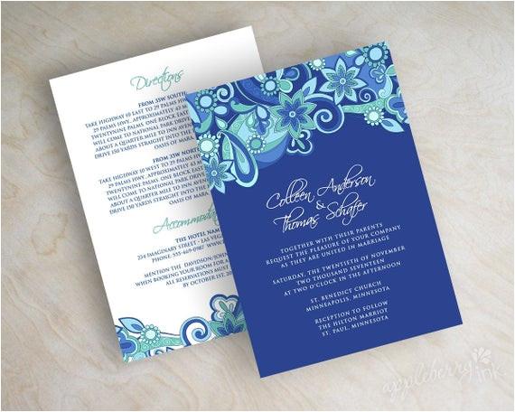 paisley wedding invitation paisley