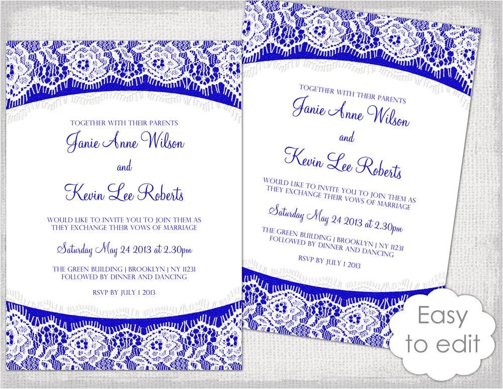 lace wedding invitation template royal