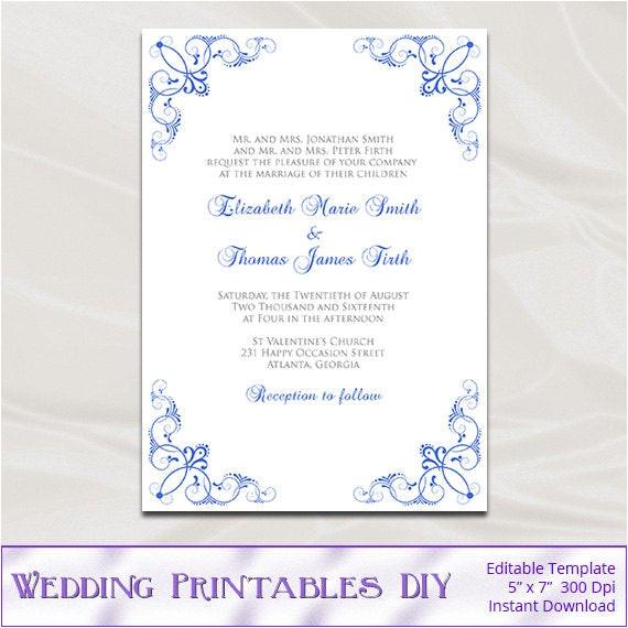 royal blue wedding invitation template