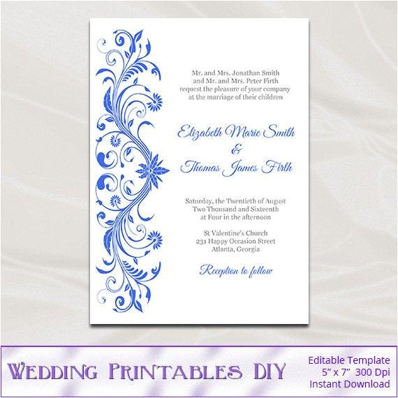 royal blue wedding invitations template