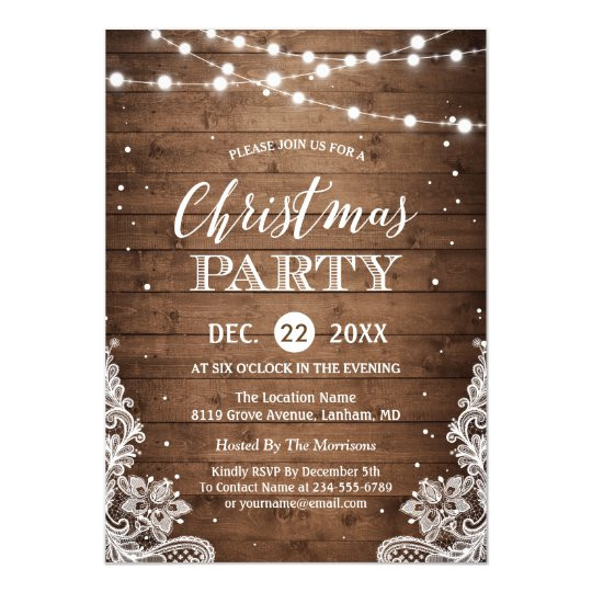 christmas party rustic wood twinkle lights lace invitation 256155865632696198