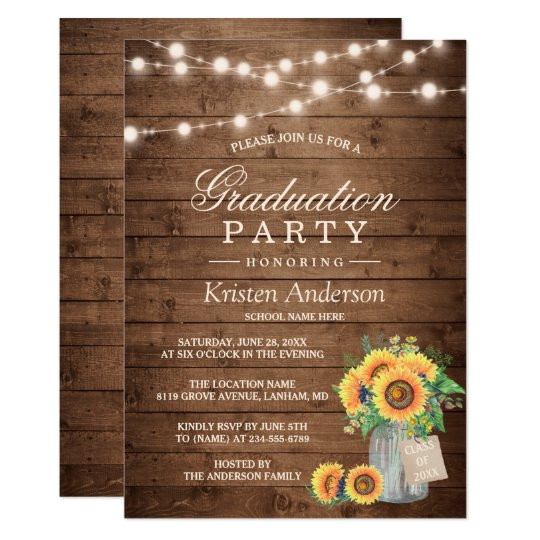 rustic sunflowers string lights graduation party invitation 256689047627375424
