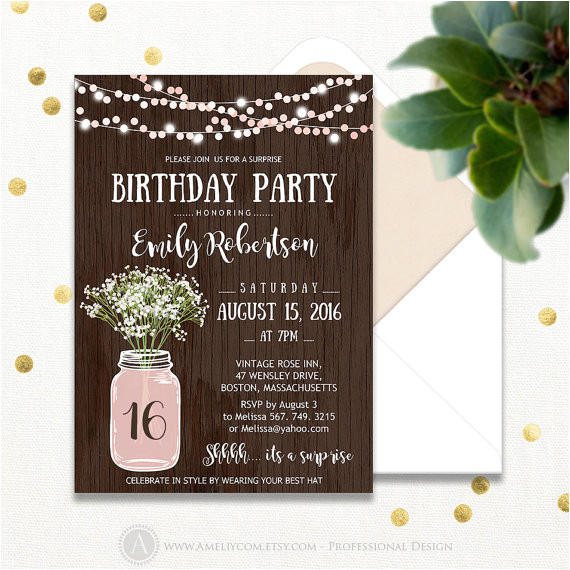 surprise fall birthday party invitations