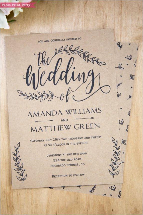 rustic wedding invitation set leaf