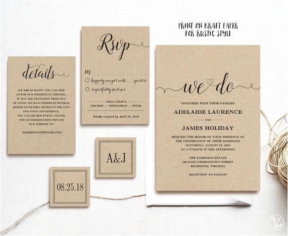 rustic wedding invitation template 5