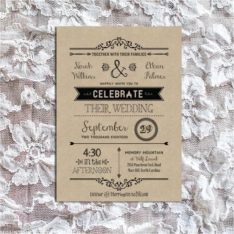 rustic diy wedding invitation