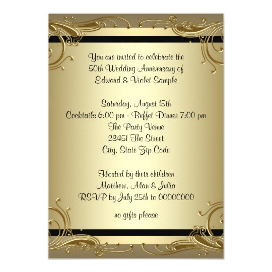 elegant gold 50th wedding anniversary party card 161304529371100259